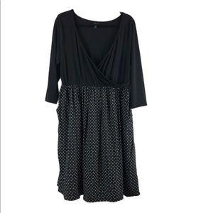 Torrid dress size 1 3/4 sleeve Black Top Polka dot